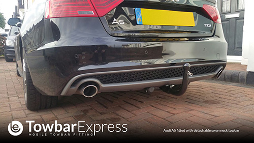 Audi A5 detachable swan neck towbar