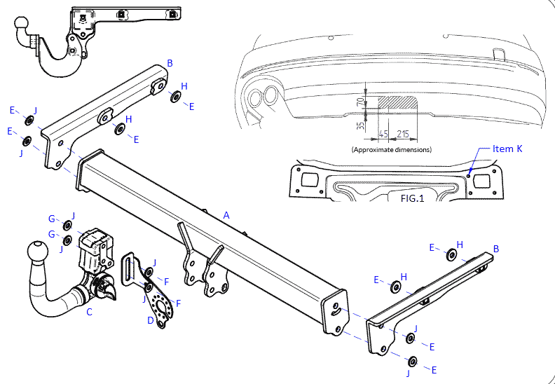 Audi A5 towbar diagram