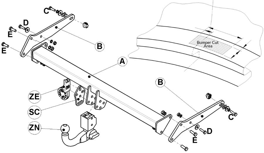 Skoda Kodiaq Towbar Diagram