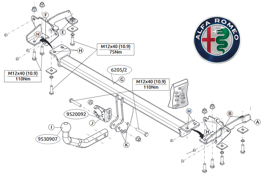 fancy tow bar connection diagram illustration